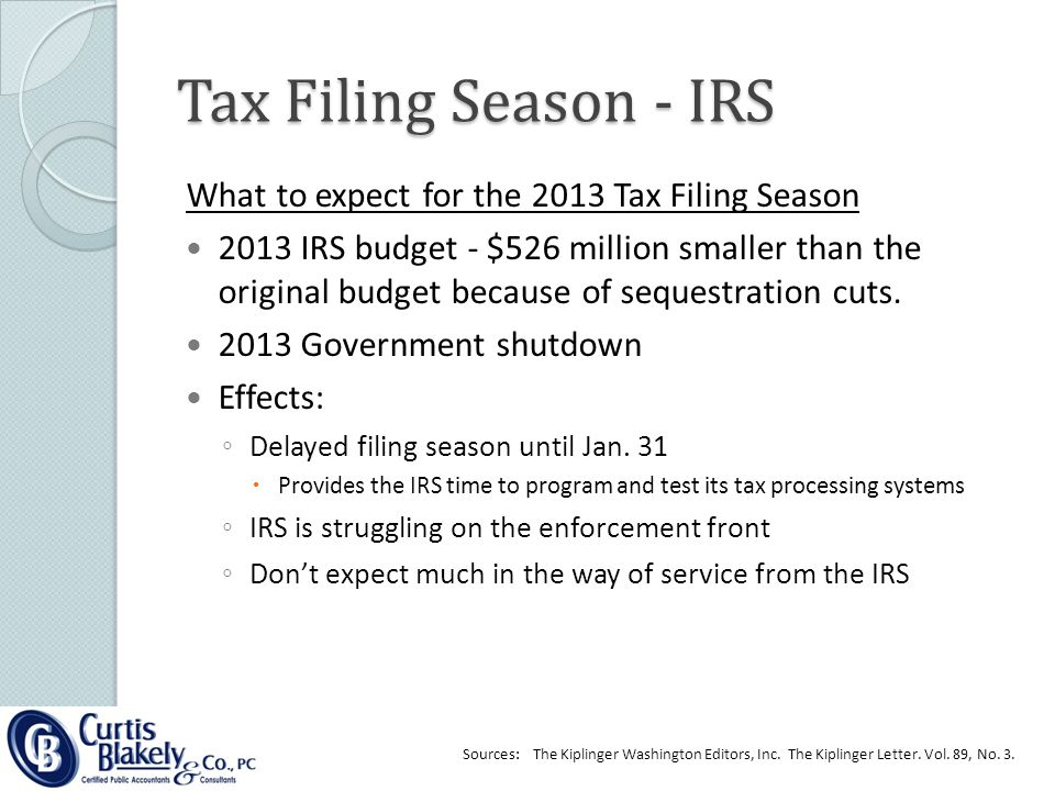 What to expect for the 2013 Tax Filing Season 2013 IRS budget - $526 million smaller than the original budget because of sequestration cuts.