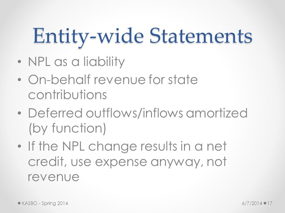 Entity-wide Statements NPL as a liability On-behalf revenue for state contributions Deferred outflows/inflows amortized (by function) If the NPL chang