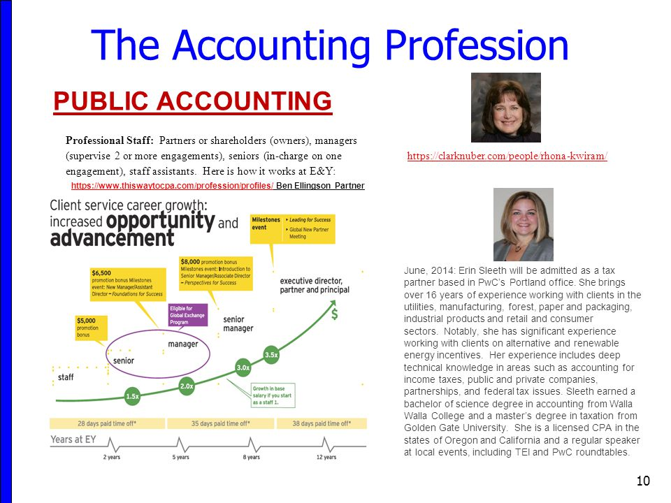10 The Accounting Profession PUBLIC ACCOUNTING Professional Staff: Partners or shareholders (owners), managers (supervise 2 or more engagements), seniors (in-charge on one engagement), staff assistants.