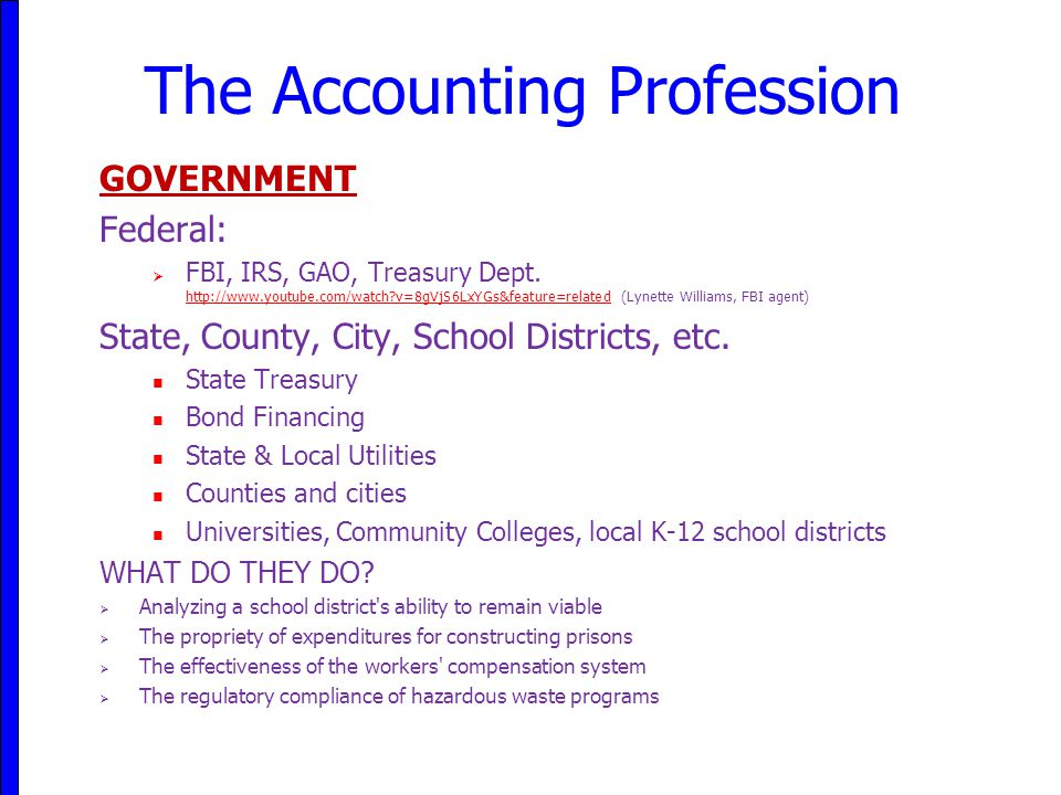 The Accounting Profession GOVERNMENT Federal:  FBI, IRS, GAO, Treasury Dept. http://www.youtube.com/watch?v=8gVjS6LxYGs&feature=related (Lynette Will