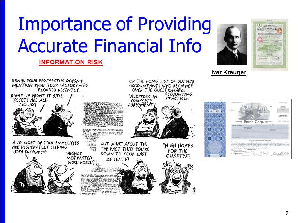 Importance of Providing Accurate Financial Info 2 Ivar Kreuger INFORMATION RISK