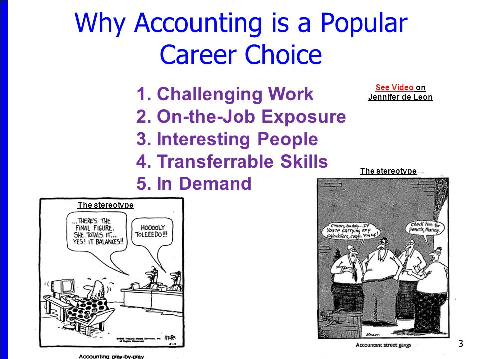 Why Accounting is a Popular Career Choice 3 1. Challenging Work 2. On-the-Job Exposure 3. Interesting People 4. Transferrable Skills 5. In Demand See