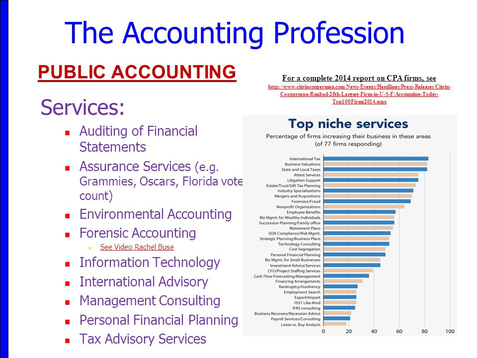 The Accounting Profession Services: Auditing of Financial Statements Assurance Services (e.g. Grammies, Oscars, Florida vote count) Environmental Acco