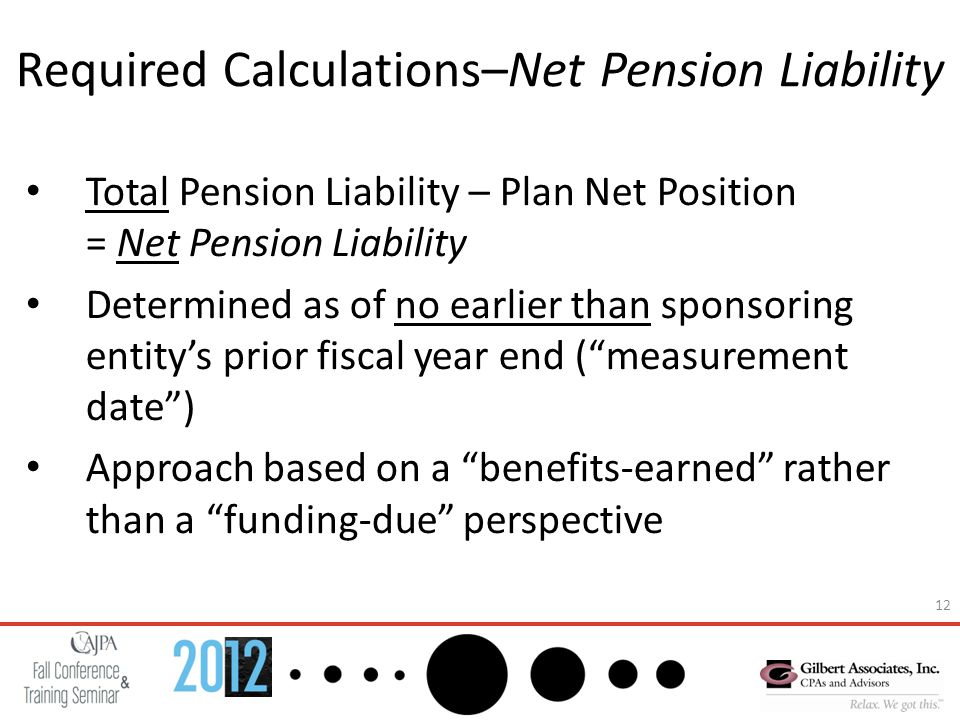 12 Required Calculations–Net Pension Liability Total Pension Liability – Plan Net Position = Net Pension Liability Determined as of no earlier than sponsoring entity's prior fiscal year end ( measurement date ) Approach based on a benefits-earned rather than a funding-due perspective