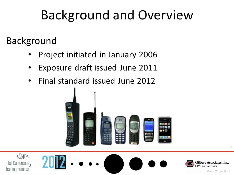 2 Background and Overview Background Project initiated in January 2006 Exposure draft issued June 2011 Final standard issued June 2012