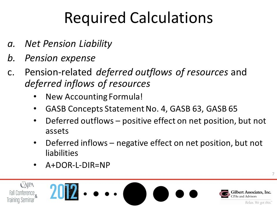 7 Required Calculations a.Net Pension Liability b.Pension expense c.Pension-related deferred outflows of resources and deferred inflows of resources New Accounting Formula.