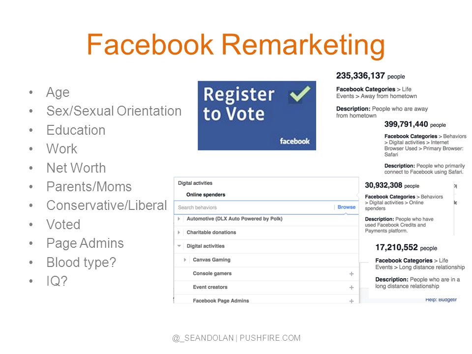 Facebook Remarketing Age Sex/Sexual Orientation Education Work Net Worth Parents/Moms Conservative/Liberal Voted Page Admins Blood type? IQ? @_SEANDOL