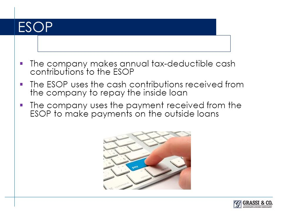  The company makes annual tax-deductible cash contributions to the ESOP  The ESOP uses the cash contributions received from the company to repay the inside loan  The company uses the payment received from the ESOP to make payments on the outside loans ESOP