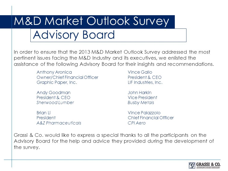 M&D Market Outlook Survey Advisory Board In order to ensure that the 2013 M&D Market Outlook Survey addressed the most pertinent issues facing the M&D Industry and its executives, we enlisted the assistance of the following Advisory Board for their insights and recommendations.