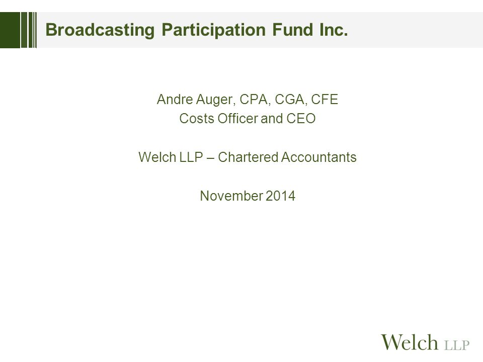 Broadcasting Participation Fund Inc.