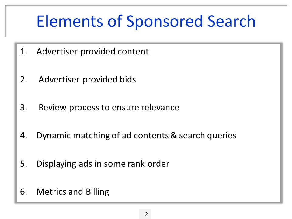 Elements of Sponsored Search 2 1.Advertiser-provided content 2.