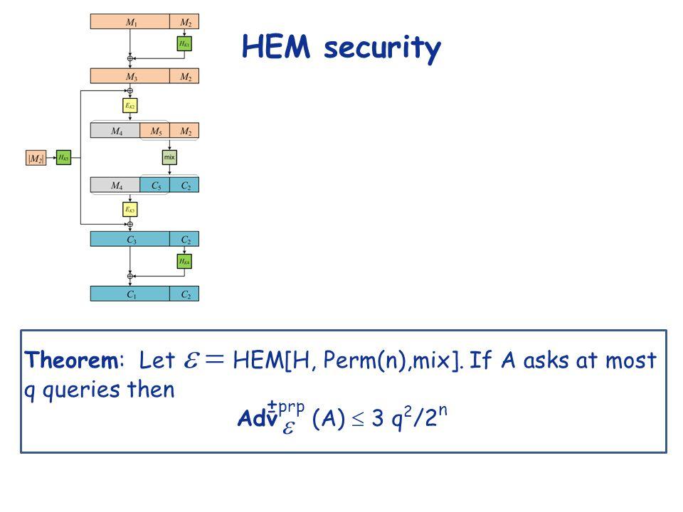 HEM security Theorem: Let  HEM[H, Perm(n),mix].