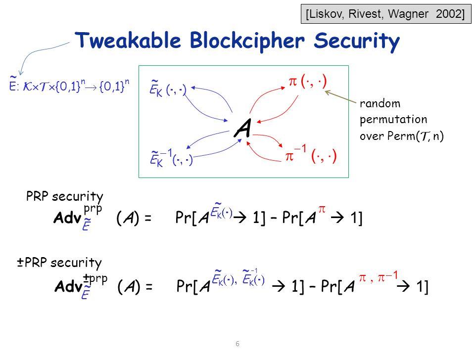 6 A E K (  ) 11  (  ) 11 random permutation over Perm( T, n) E K (  ) Adv (A) = Pr[A  1] – Pr[A   1] Ε prp Adv (A) = Pr[A  1] – Pr[A   1] prp 11 PRP security E + - + - ~ ~ ~ ~ ~ ~~ Tweakable Blockcipher Security E : K  T  {0,1} n  {0,1} n ~ [Liskov, Rivest, Wagner 2002] EKEK 11 E K  E K 