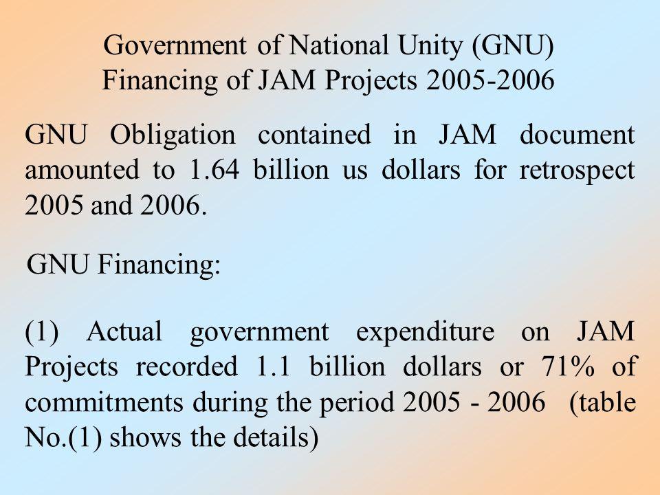 Government of National Unity (GNU) Financing of JAM Projects 2005-2006 GNU Obligation contained in JAM document amounted to 1.64 billion us dollars for retrospect 2005 and 2006.
