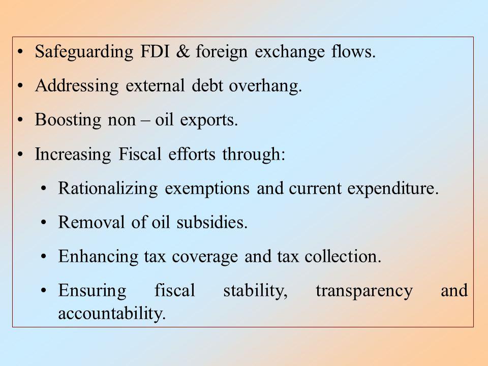 Safeguarding FDI & foreign exchange flows. Addressing external debt overhang.