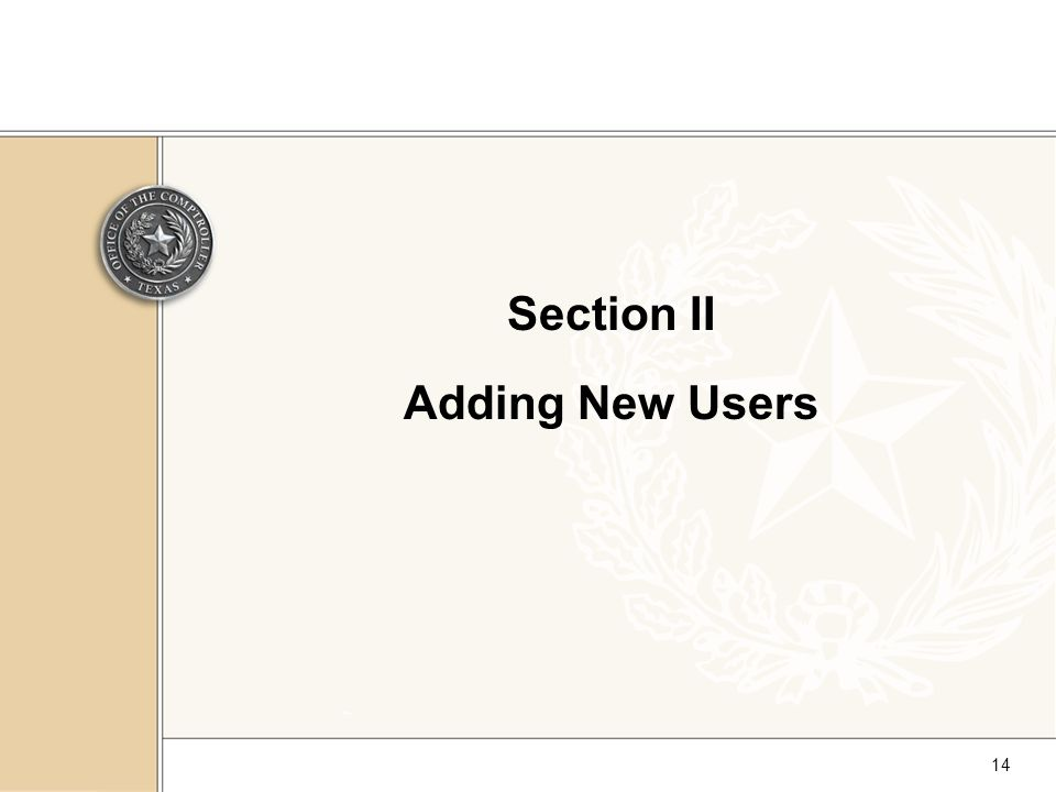 14 Section II Adding New Users