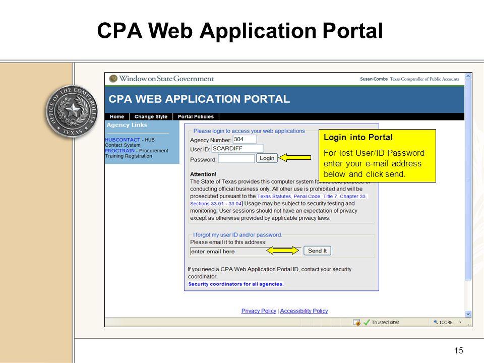 15 CPA Web Application Portal Login into Portal.