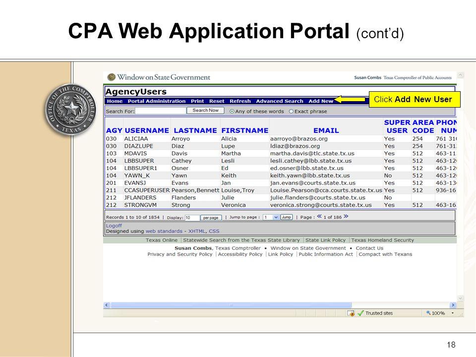 18 CPA Web Application Portal (cont'd) Click Add New User