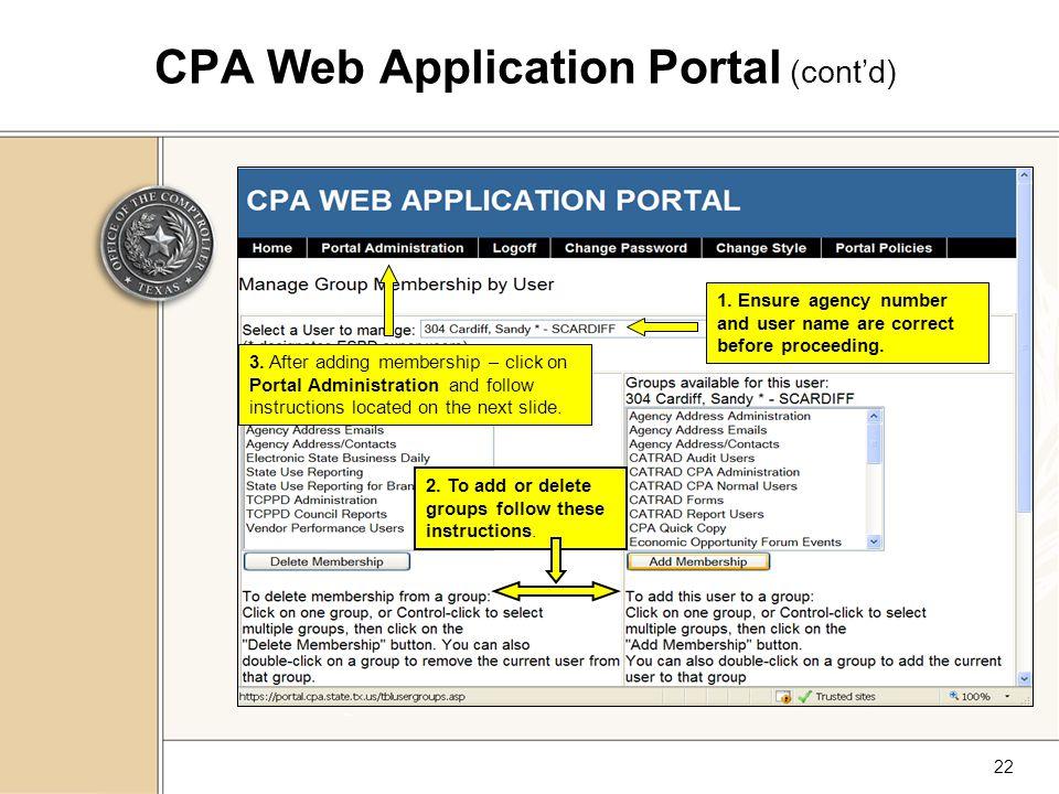 22 CPA Web Application Portal (cont'd) 1.