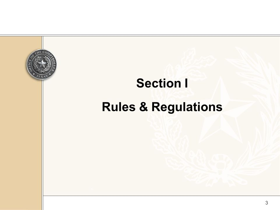 3 Section I Rules & Regulations