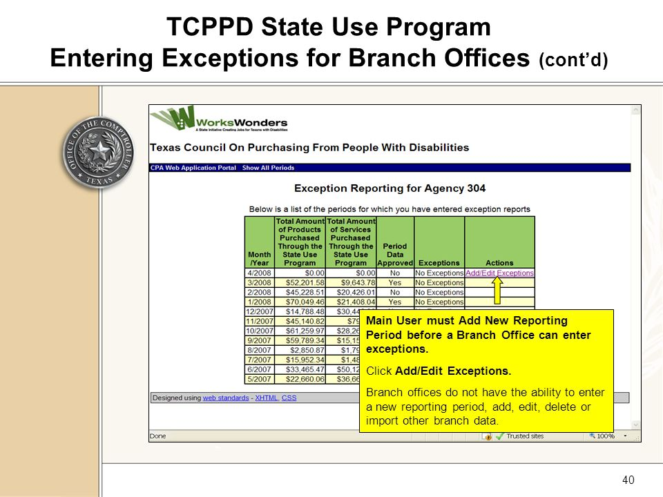 40 TCPPD State Use Program Entering Exceptions for Branch Offices (cont'd) Main User must Add New Reporting Period before a Branch Office can enter exceptions.