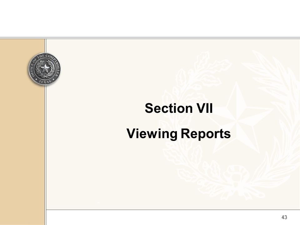 43 Section VII Viewing Reports