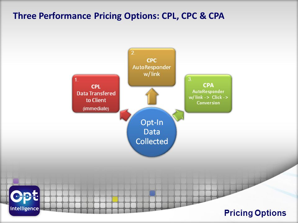 Pricing Options Three Performance Pricing Options: CPL, CPC & CPA 1. 2. 3. ( immediate )