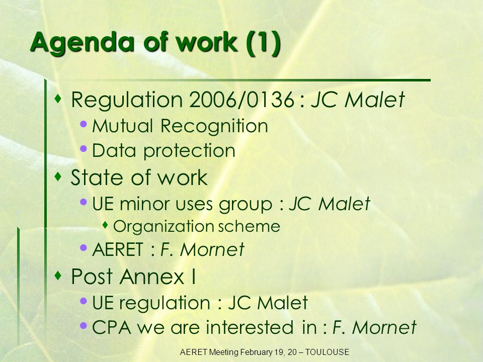 AERET Meeting February 19, 20 – TOULOUSE Agenda of work (2)  Biological extrapolation Main stakes : JC Malet Discussion : F.