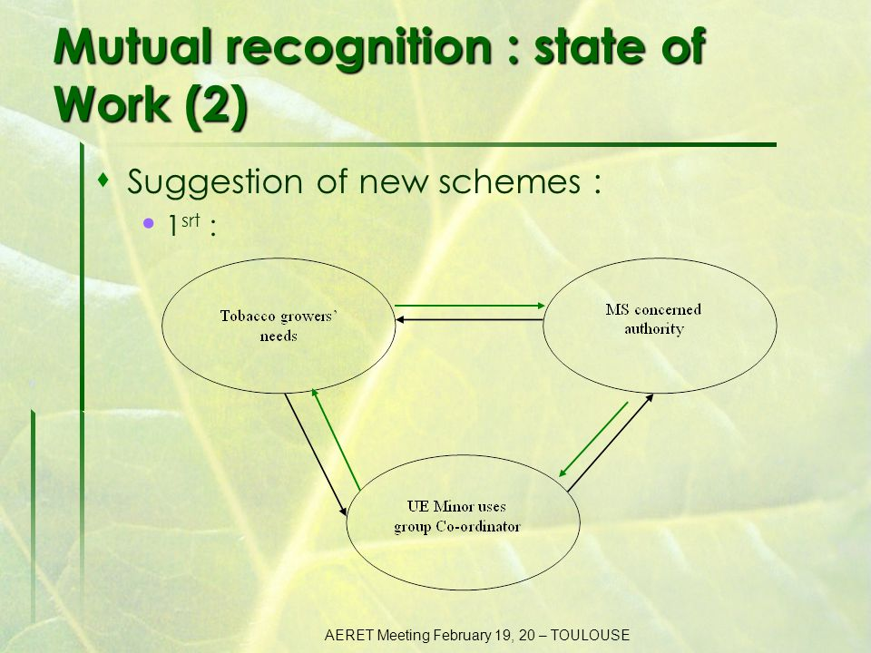 AERET Meeting February 19, 20 – TOULOUSE Mutual recognition : state of Work (3)  Suggestion of new schemes : 2 nd :