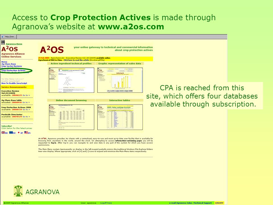 Access to Crop Protection Actives is made through Agranova's website at www.a2os.com AGRANOVA CPA is reached from this site, which offers four databases available through subscription.