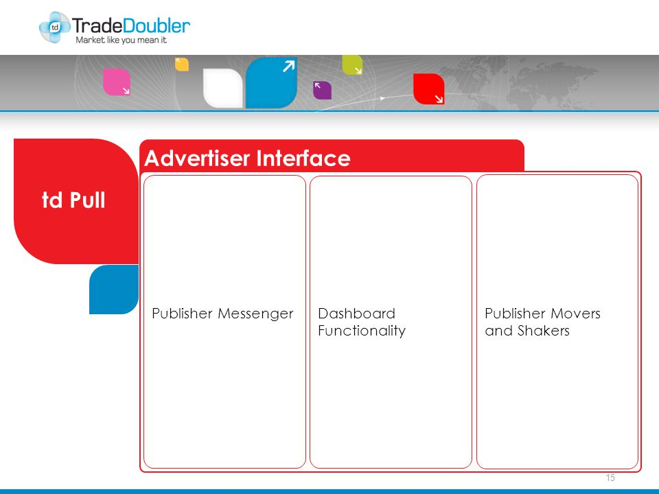 15 Advertiser Interface td Pull Publisher Movers and Shakers Publisher Messenger Dashboard Functionality
