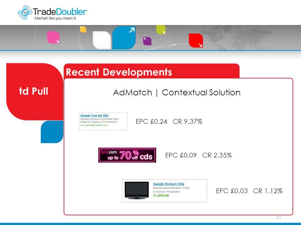 41 Recent Developments td Pull AdMatch   Contextual Solution EPC £0.24 CR 9.37% EPC £0.09 CR 2.35% EPC £0.03 CR 1.12%