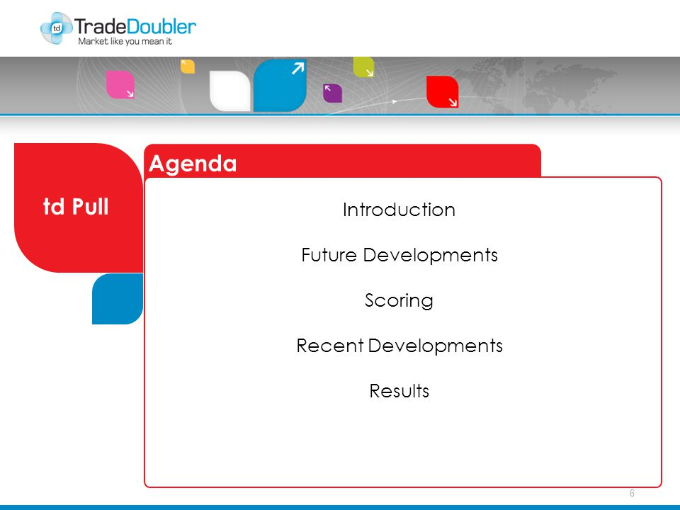 6 Agenda td Pull Introduction Future Developments Scoring Recent Developments Results