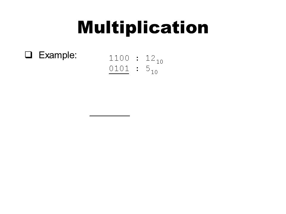 Multiplication  Example: