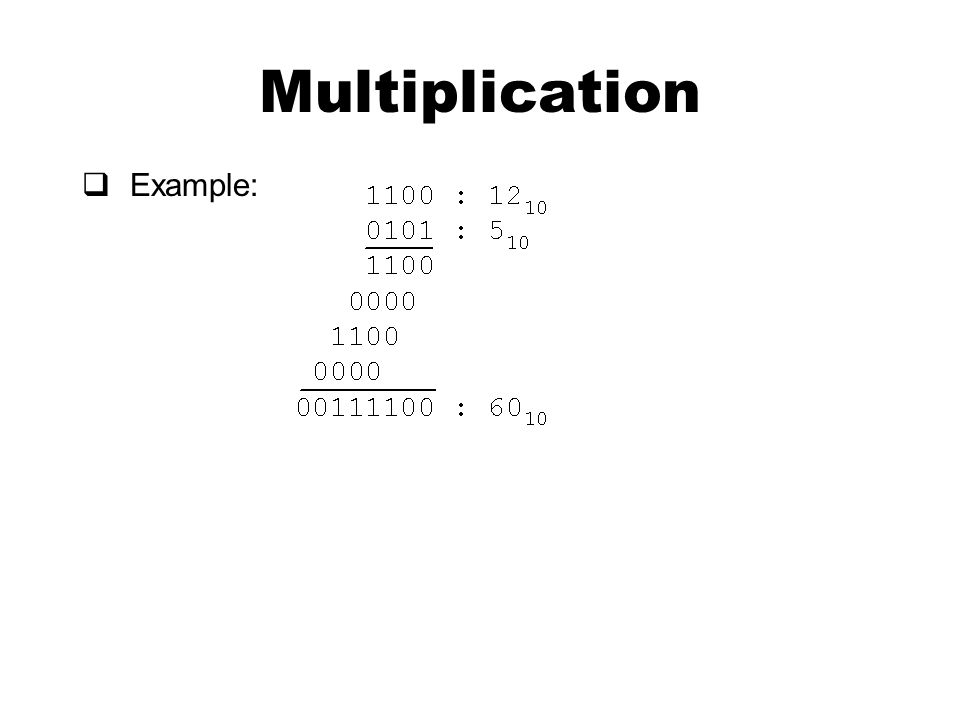 Multiplication  Example: