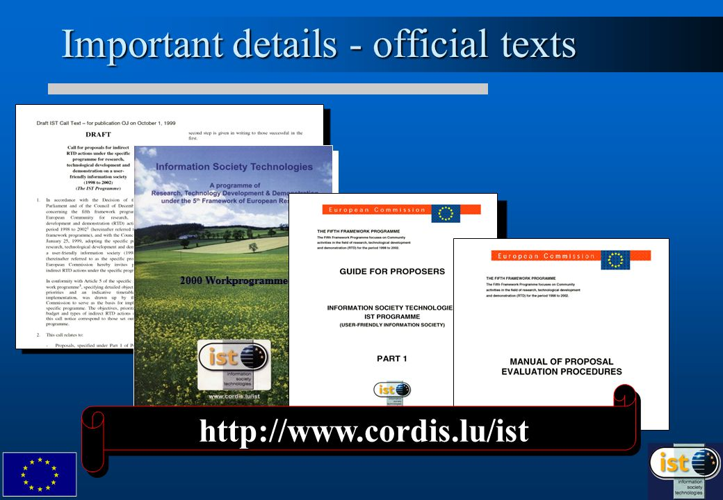 2000 Workprogramme Important details - official texts http://www.cordis.lu/isthttp://www.cordis.lu/ist