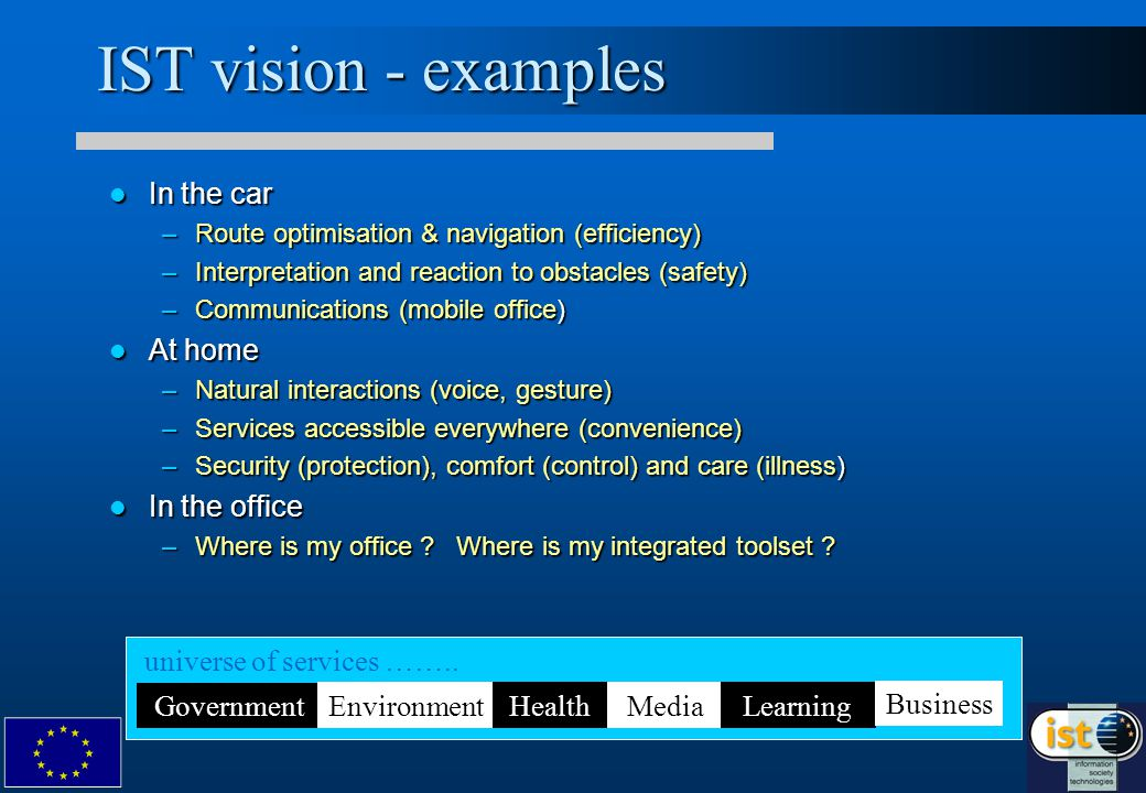 IST vision - examples In the car In the car –Route optimisation & navigation (efficiency) –Interpretation and reaction to obstacles (safety) –Communications (mobile office) At home At home –Natural interactions (voice, gesture) –Services accessible everywhere (convenience) –Security (protection), comfort (control) and care (illness) In the office In the office –Where is my office .