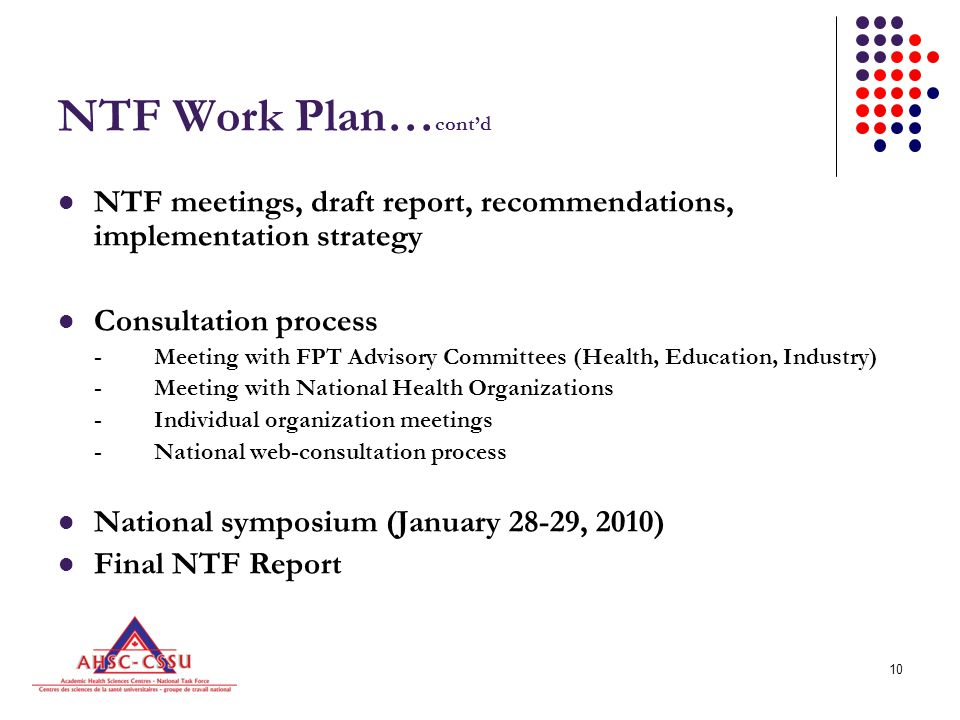 10 NTF Work Plan… cont'd NTF meetings, draft report, recommendations, implementation strategy Consultation process -Meeting with FPT Advisory Committees (Health, Education, Industry) -Meeting with National Health Organizations -Individual organization meetings -National web-consultation process National symposium (January 28-29, 2010) Final NTF Report