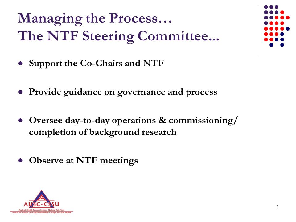 8 The NTF Steering Committee...Co-Chairs - Mr. Glenn Brimacombe, President & CEO, ACAHO -Dr.