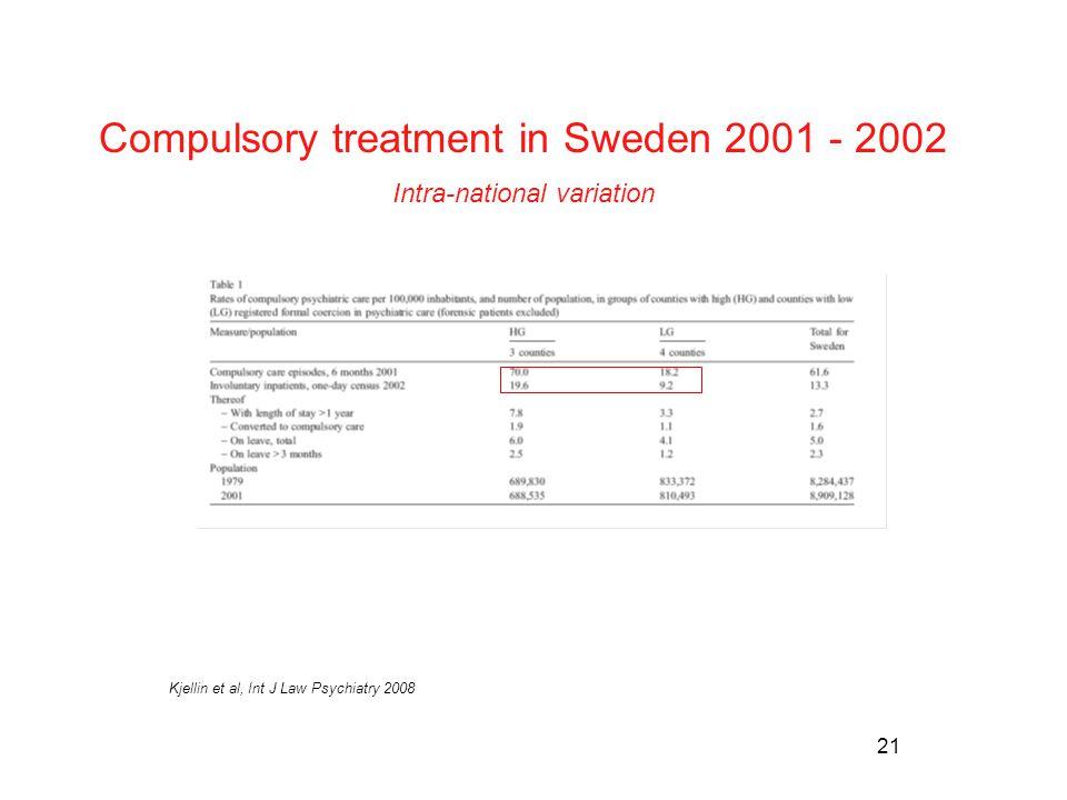 21 Kjellin et al, Int J Law Psychiatry 2008 Compulsory treatment in Sweden 2001 - 2002 Intra-national variation