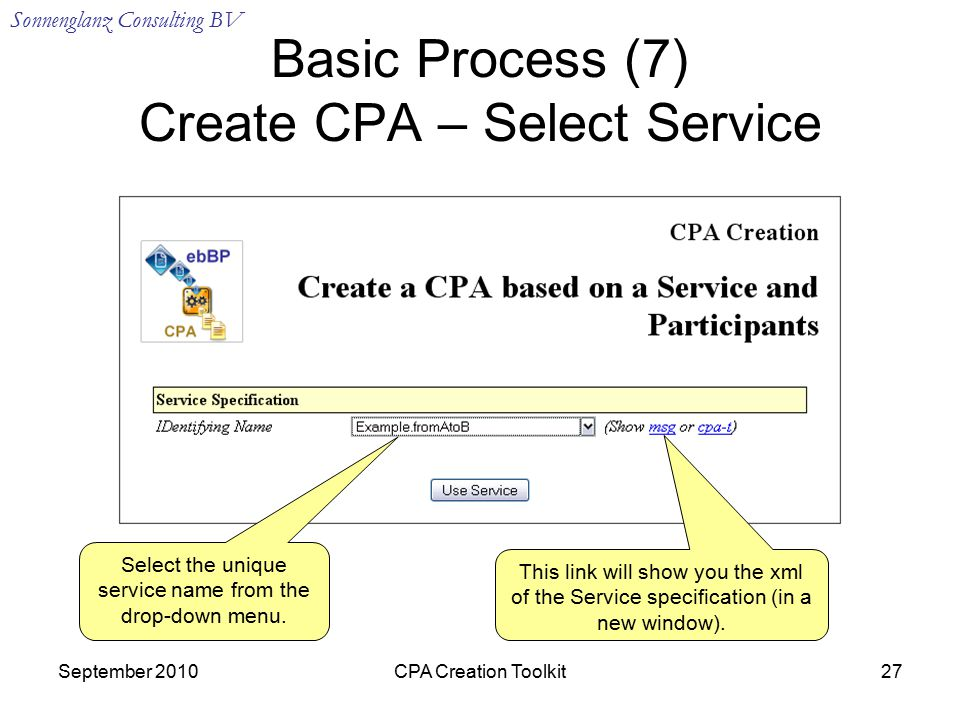 Sonnenglanz Consulting BV September 2010CPA Creation Toolkit27 Basic Process (7) Create CPA – Select Service Select the unique service name from the drop-down menu.