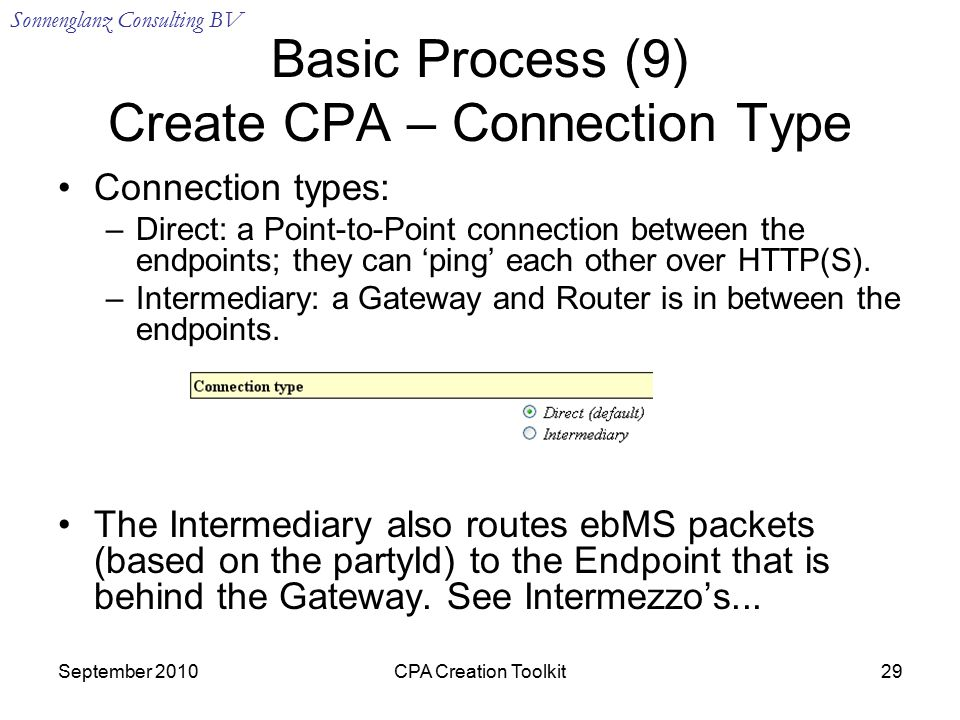 Sonnenglanz Consulting BV September 2010CPA Creation Toolkit29 Basic Process (9) Create CPA – Connection Type Connection types: –Direct: a Point-to-Point connection between the endpoints; they can 'ping' each other over HTTP(S).