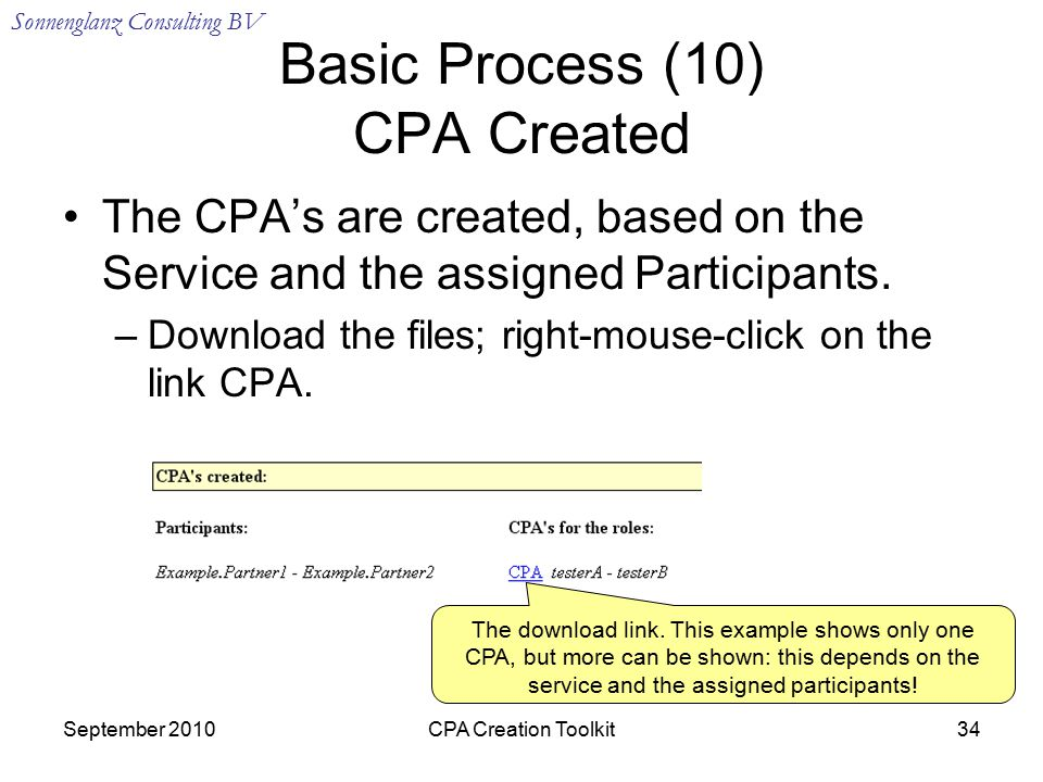 Sonnenglanz Consulting BV September 2010CPA Creation Toolkit34 Basic Process (10) CPA Created The CPA's are created, based on the Service and the assigned Participants.
