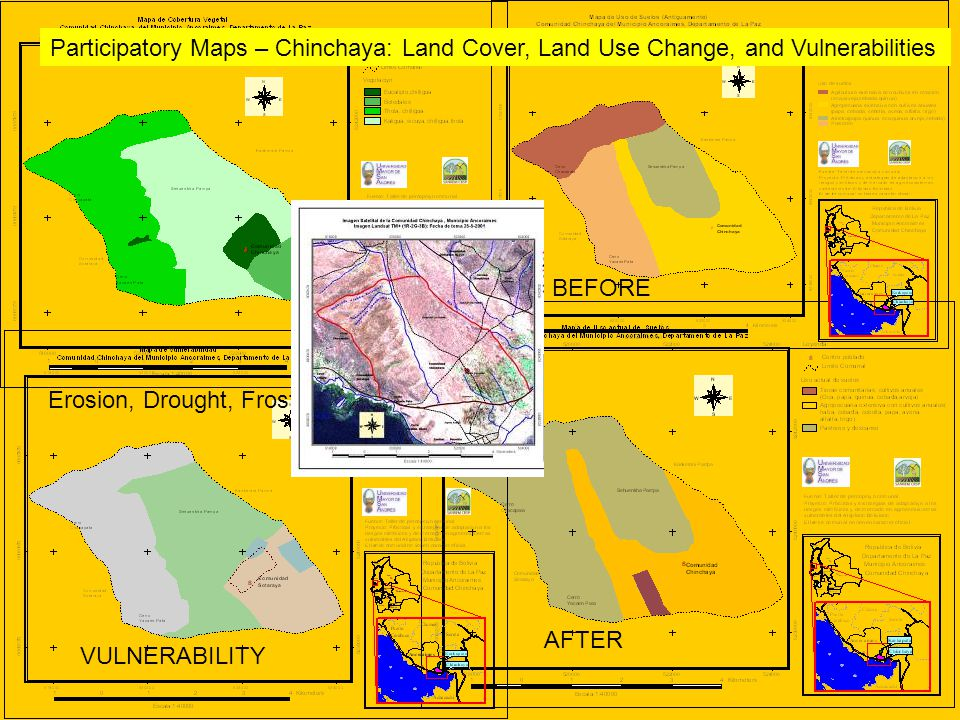 Participatory Maps – Chinchaya: Land Cover, Land Use Change, and Vulnerabilities BEFORE AFTER VULNERABILITY Erosion, Drought, Frost