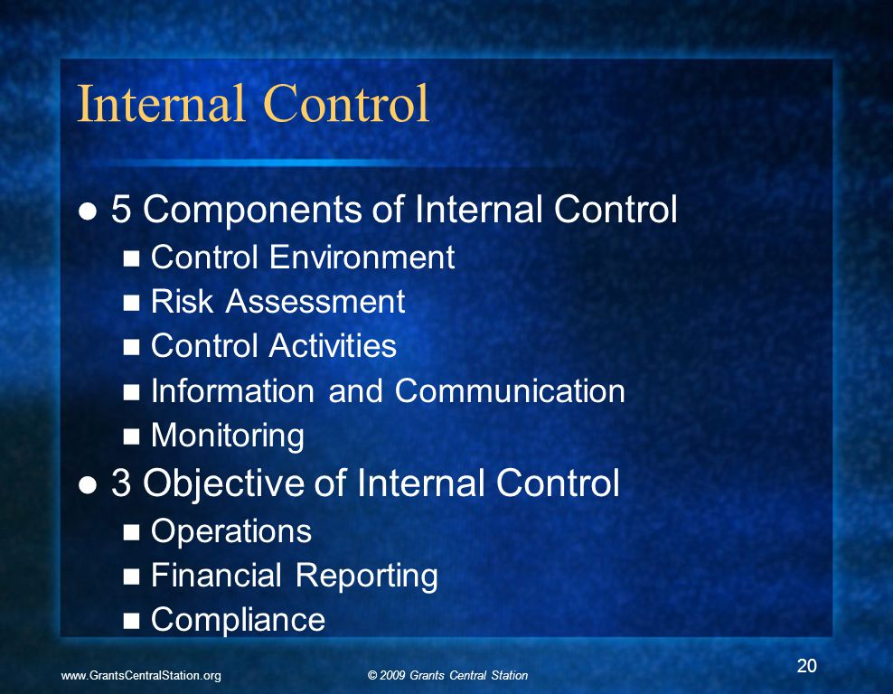 © 2009 Grants Central Stationwww.GrantsCentralStation.org Internal Control 5 Components of Internal Control Control Environment Risk Assessment Contro