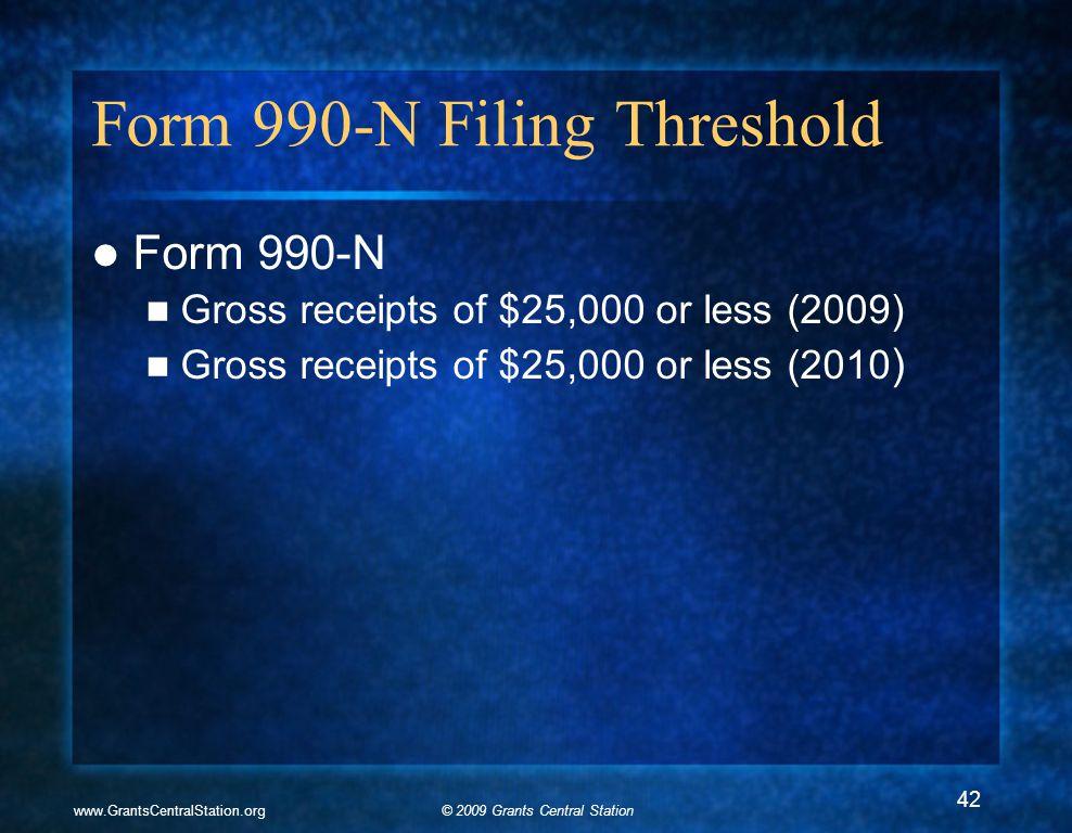 © 2009 Grants Central Stationwww.GrantsCentralStation.org Form 990-N Filing Threshold Form 990-N Gross receipts of $25,000 or less (2009) Gross receipts of $25,000 or less (2010 ) 42