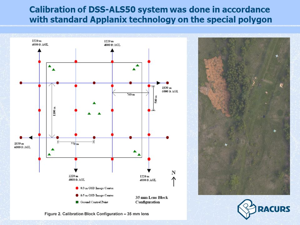 Calibration of DSS-ALS50 system was done in accordance with standard Applanix technology on the special polygon