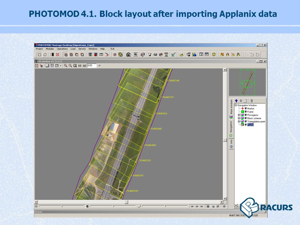 PHOTOMOD 4.1. Block layout after importing Applanix data