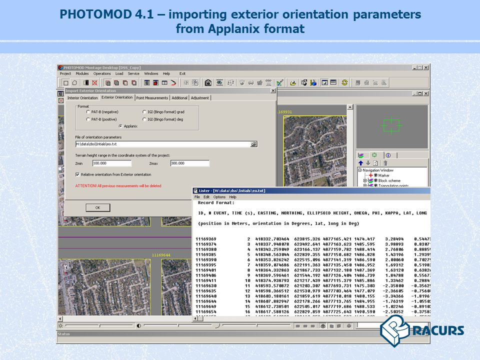 PHOTOMOD 4.1 – importing exterior orientation parameters from Applanix format