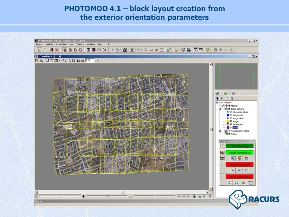 PHOTOMOD 4.1 – block layout creation from the exterior orientation parameters